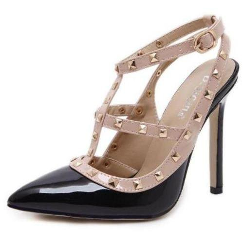 Rivet PU High-Heeled Shoes