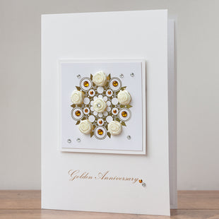 Luxury Boxed Anniversary Card 'Golden Anniversary'