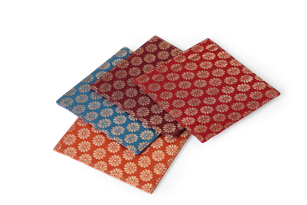 Multicoloured Brocade coasters - set of four