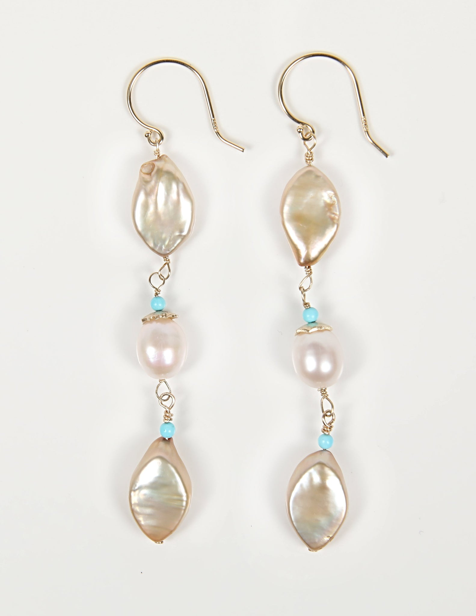 White Orchid Studios | Made in the USA | Handcrafted couture jewelry inspired by nature. |  Champagne, marquis freshwater pearls, white rice pearls, Sleeping Beauty turquoise, 14kt yellow gold earwires. $250