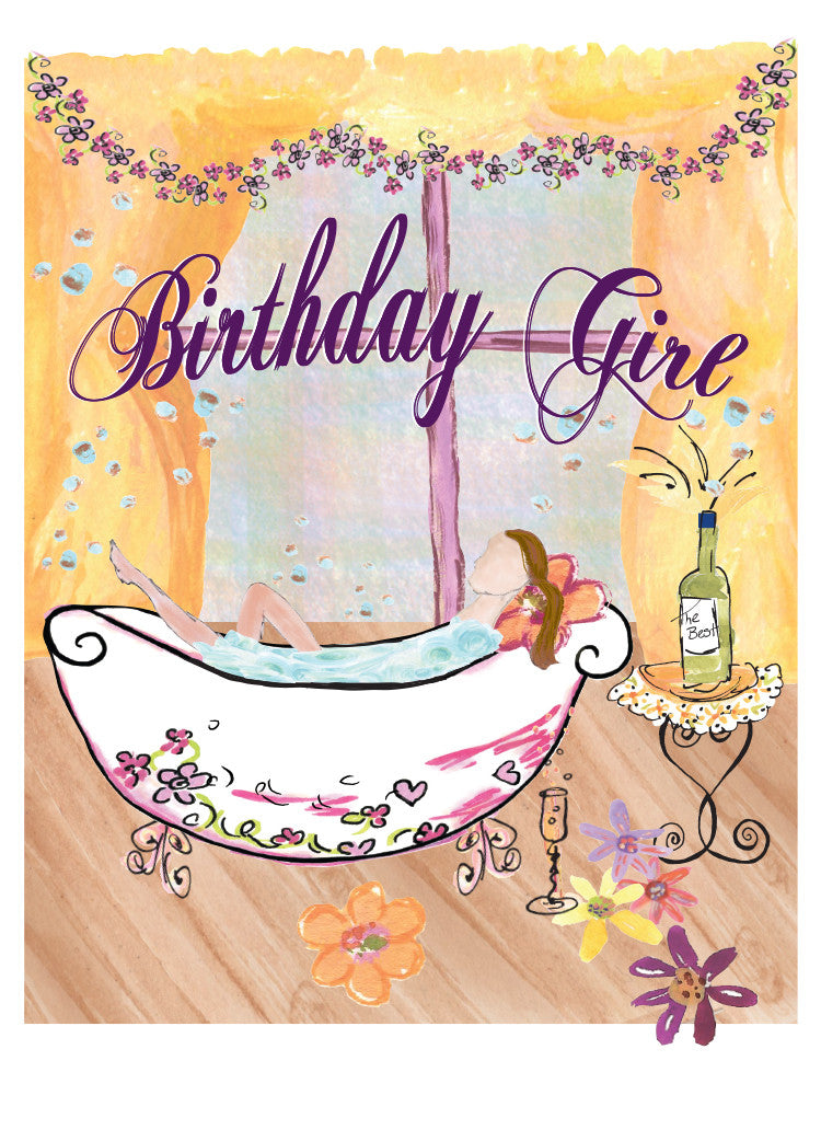 Happy Birthday Girl at the Spa - Greeting Card - Dreams After All