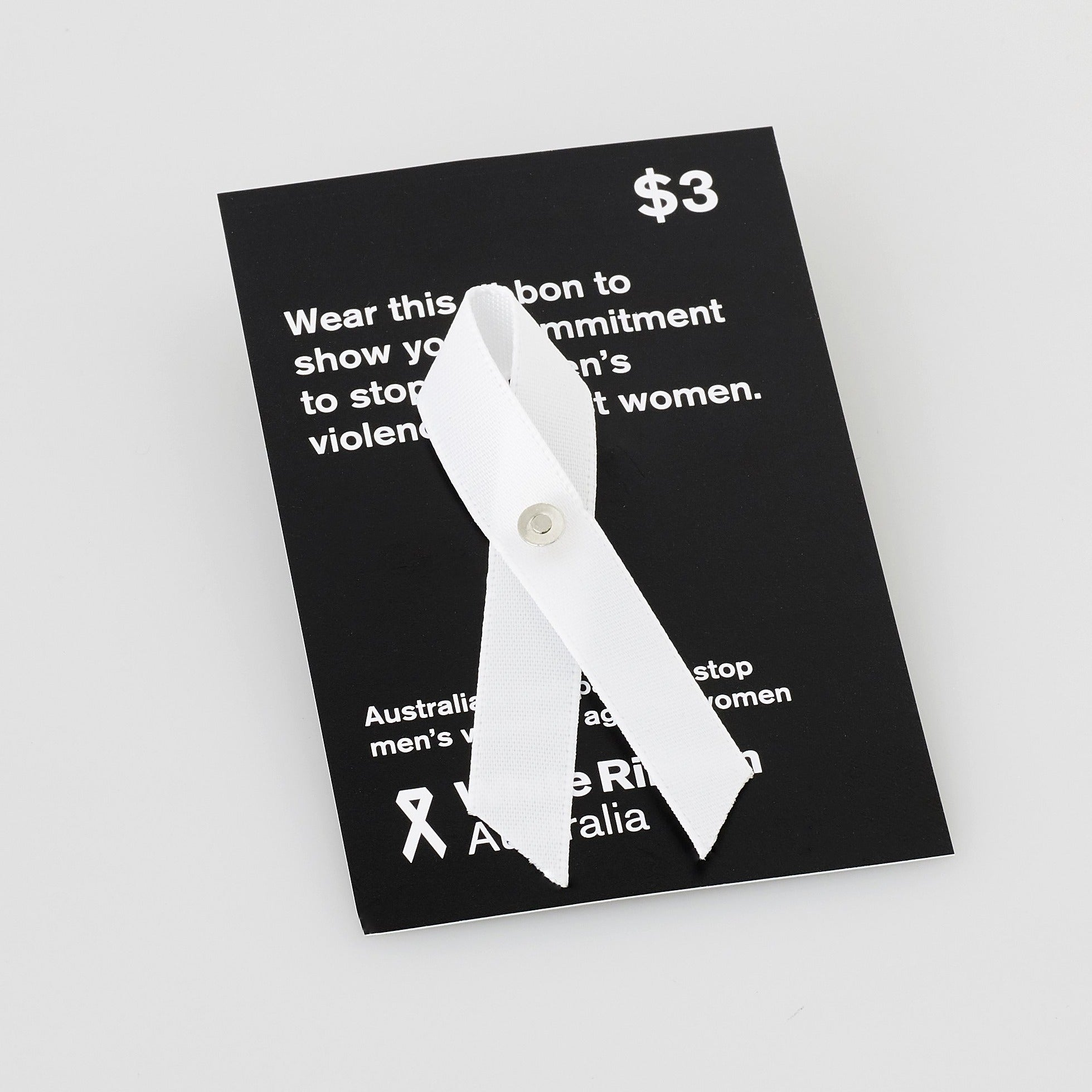 White Ribbon Australia ribbons pin brooch