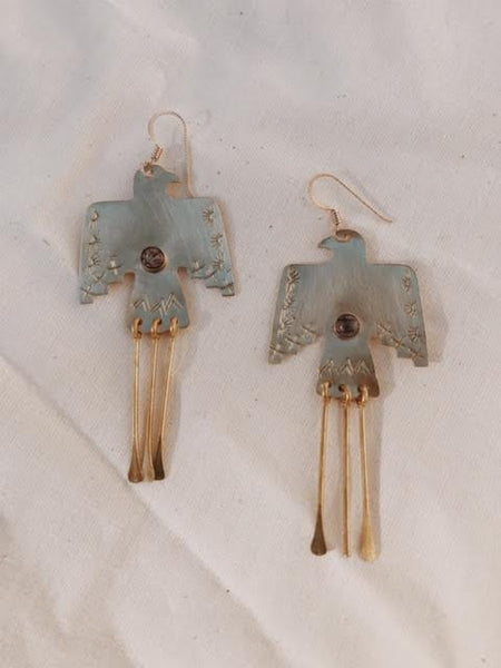 Brass Wa Earrings in Rutilated Quartz
