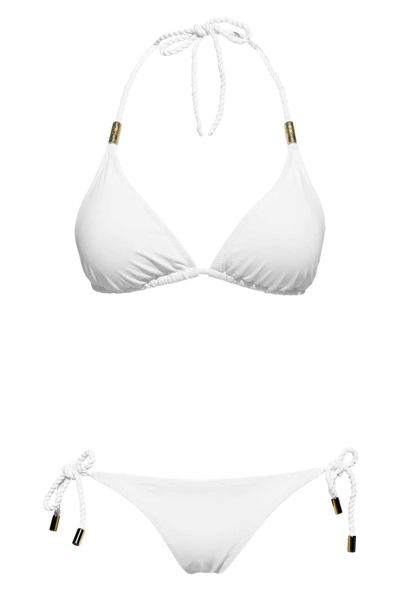 S10 Samoa Triangle Top - pure white & Corfu Side-tie bottom - pure white swimwear bikini set