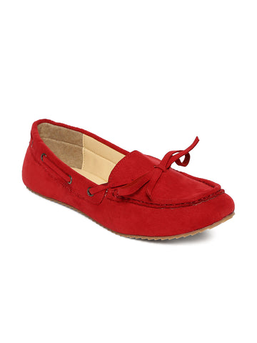 Estatos Synthetic Leather Broad Toe Comfortable Red Loafers for Women