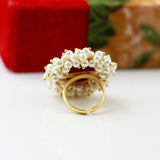 Gold Tone Pearl Beaded Ring With Stone
