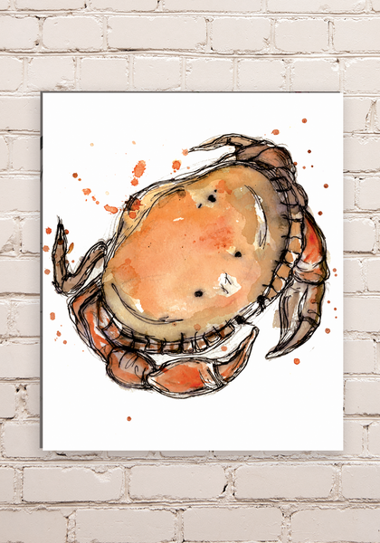 Wood Mounted Crab Print