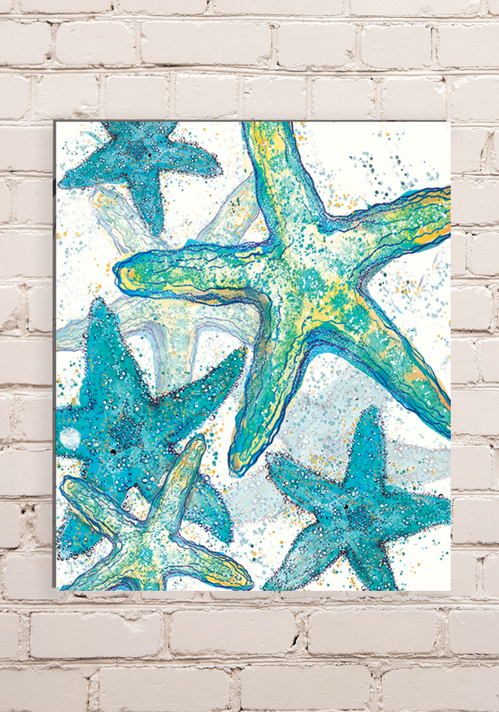 Wood Mounted Starfish Print