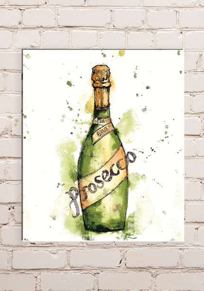 Wood Mounted Prosecco Print