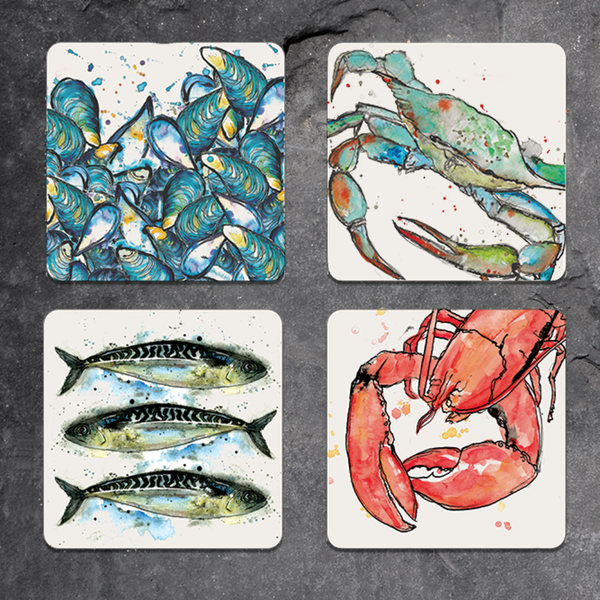Set of 4 mixed seafood coasters