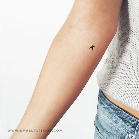 Tiny Airplane Temporary Tattoo (Set of 4)