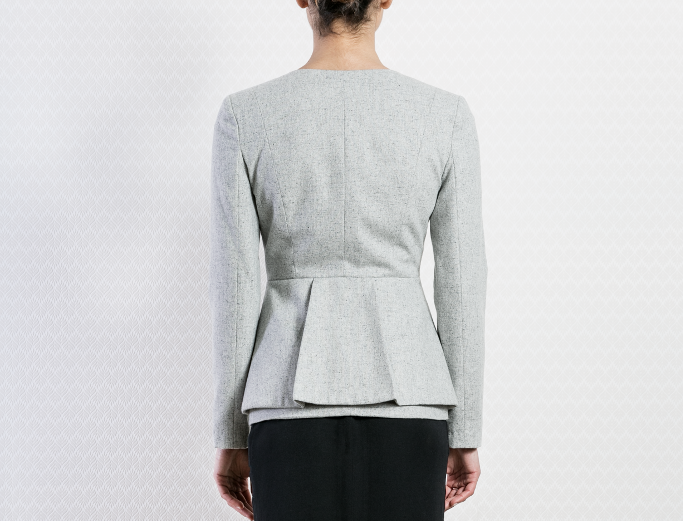 Ladies Formal Peplum Wool Light Grey Blazer Designer