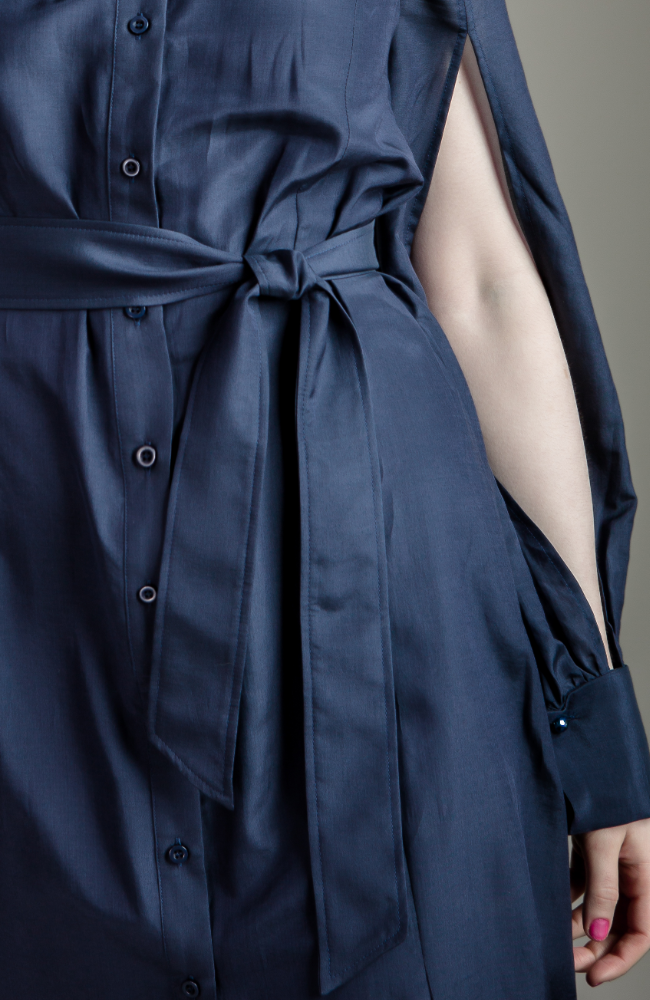 Navy Belted Shirt Dress