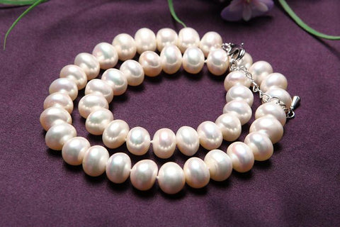 Yangtze Store 11-12 mm Freshwater Knotted Pearl Necklace White PN104