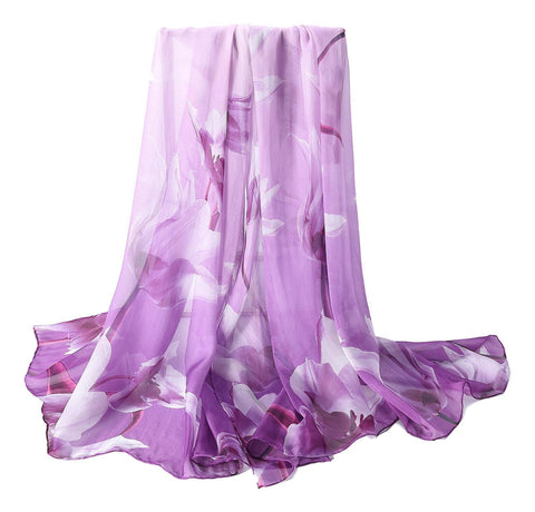 Yangtze Store Extra Wide High Quality Silk Chiffon Scarf Purple Theme Floral Print SCH510