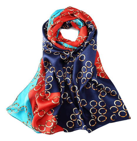 Yangtze Store Long Charmeuse Silk Scarf Blue and Red Polka Dot Print LZD034