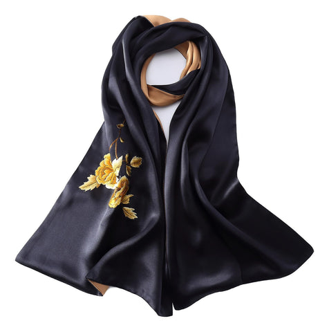 Yangtze Store Luxurious Extra Heavy Charmeuse Silk Scarf with Hand Embroidery EMB001