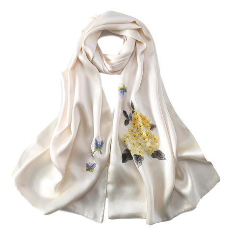 Yangtze Store Luxurious Extra Heavy Charmeuse Silk Scarf with Hand Embroidery Ivory EMB003