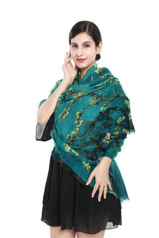 Yangtze Store Luxurious Extra Wide 100% Cashmere Scarf & Wrap Emerald Floral Print CSH216