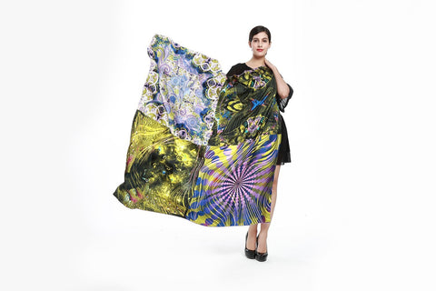 Yangtze Store Luxury Extra Large Square Twill Silk Scarf /Wrap Gold and Purple Paisley Print TWL003