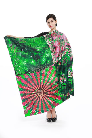 Yangtze Store Luxury Extra Large Square Twill Silk Scarf /Wrap Green Theme Abstract Print TWL002