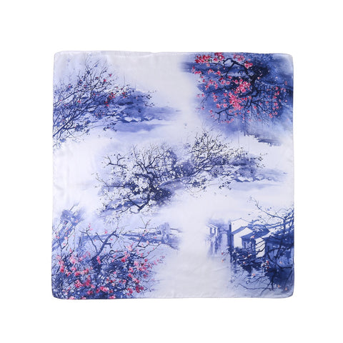 Yangtze Store Mid-Sized Square Charmeuse Silk Scarf Blue Theme Village Scenery Print ZFD204