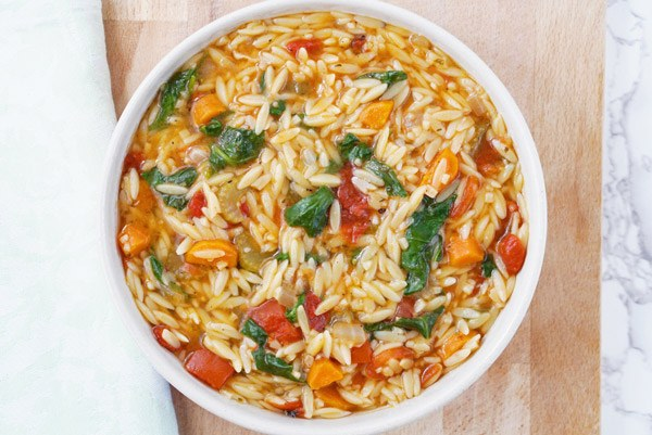 Organic Italian Orzo Soup delicious easy healthy recipe with Wild Turkey Tail superfood medicinal Mushroom extract powder Vegan, vegetarian Gluten Free friendly