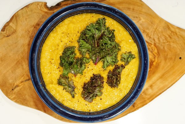 Organic Lemon Lentil Soup delicious easy recipe with Charred Kale and wild siberian Chaga Mushroom extract powder for energy endurance antioxidant health benefits Vegan vegetarian Gluten Free friendly