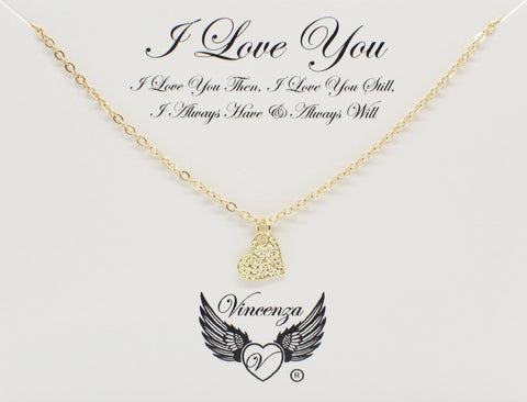 Gold I Love You Inspirational Necklace