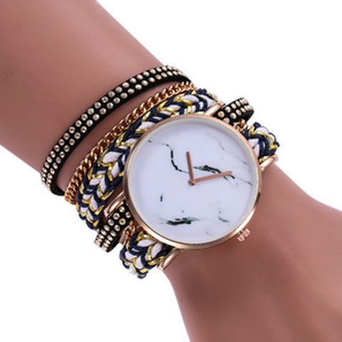 Statement Face & Chord Wrap Watch -Black/White