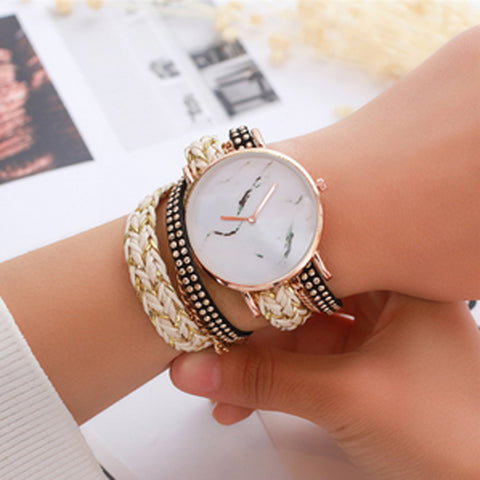 Statement Face & Chord Wrap Watch - Gold