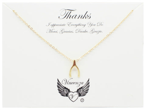 Gold Thanks Giving Inspirational Necklace