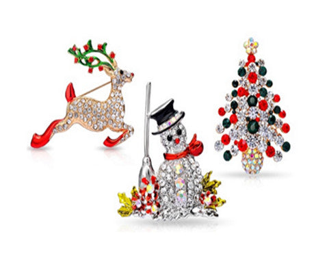 Beautiful Christmas Pin Brooches made with Swarovski Elements