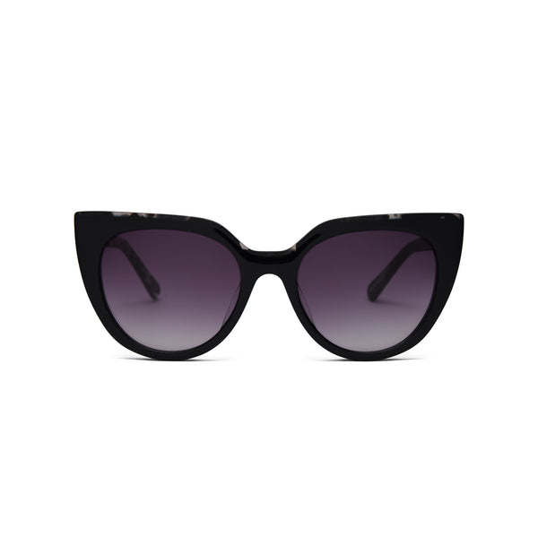 Front view of sunglasses with black frame with tortoise trim and gradient black lenses