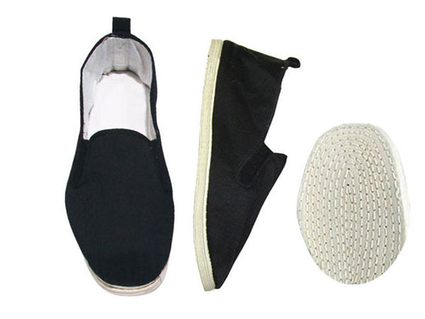 Classic and comfy black slippers with white cotton soles