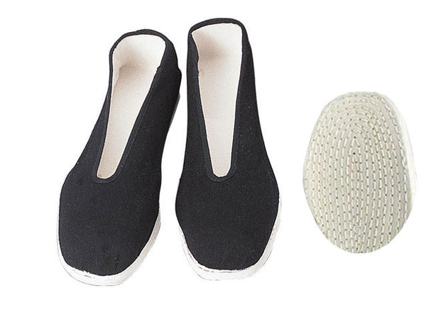 A comfy pair of cotton sole black slippers great for Tai Chi