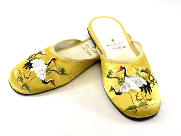 Pretty gold satin slippers with elegant crane embroidery