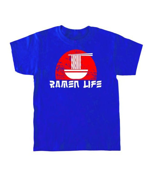 Bright blue kid's T-shirt with a red sun, bowl of noodles, and the words Ramen Life