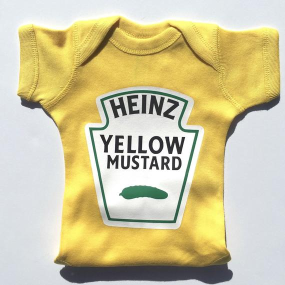 Yellow baby shirt that says Heinz Yellow Mustard