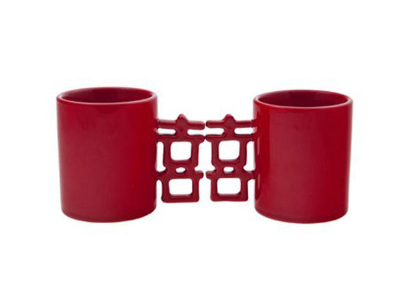 Understated pair of red mugs with double happiness handles