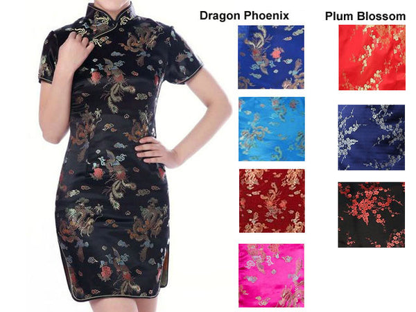 Black short-sleeved knee length mandarin brocade dress with dragon phoenix design. and sample colors