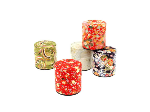 "Washi Paper Tea Canister - 3 1/8"" H"