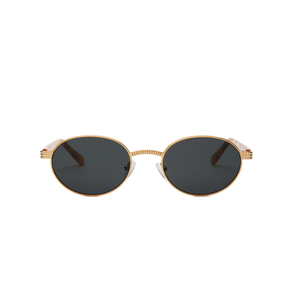 Front view of sunglasses with Gold Frame with yellow tortoise and Solid black Lens