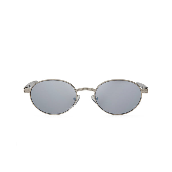 Front view of sunglasses with Silver frame with transparent gray and Silver flash mirror Lens