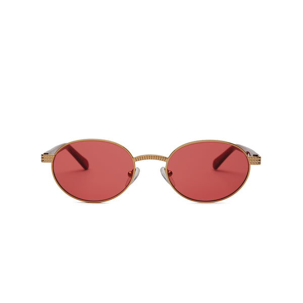 Front view of sunglasses with Gold frame with transparent red and Red Lens