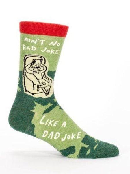 "Men's green sock with text, ""Ain't No Bad Joke Like a Dad Joke"""