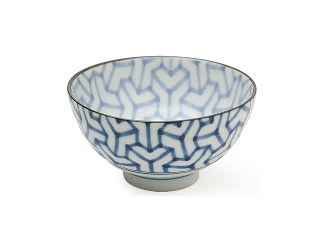 Blue on White Monyou Geo Design Rice Bowl - 4.25 in.