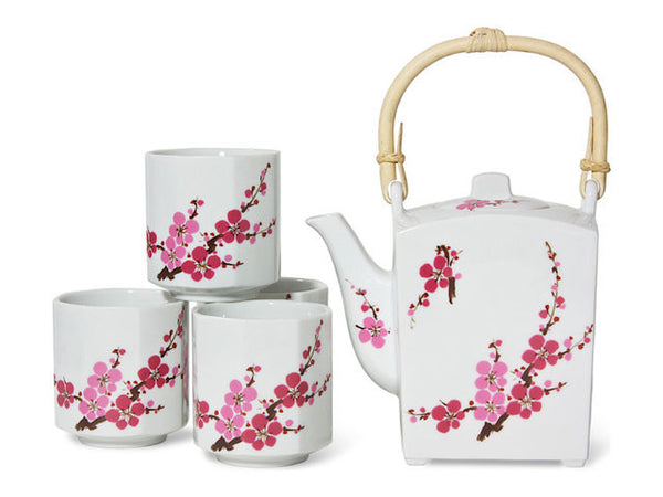 Pretty white ceramic tea set with pink Sakura Cherry Blossom design