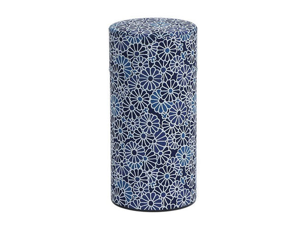Blue and White Mums Tea Canister