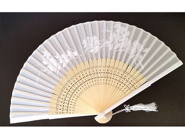 Elegant white Silky Fan with bamboo frame